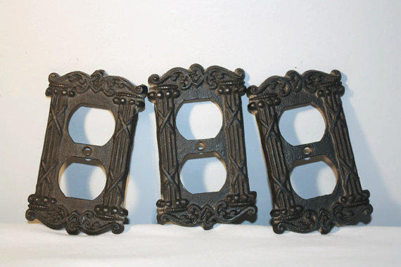 Vintage cast iron switch plate covers from seacoastvintage on - Wrought iron switch plate covers ...