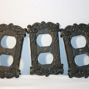 Vintage Cast Iron Switch Plate Covers, Plug Outlet, Iron Art Set of 3
