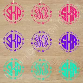 99 cent & up | Arrow Custom Monogram Decal | Monogram Sticker | Monogram Car Decal | Car Decal Monogram, Car Decal, Best Deal Cheap Monogram
