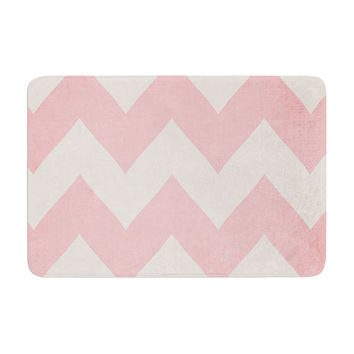"Catherine McDonald ""Sweet Kisses"" Pink Chevron Memory Foam Bath Mat"