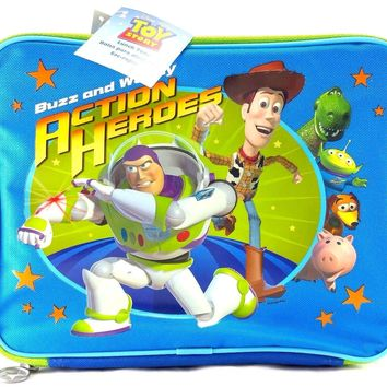 Toy Story Action Heroes Boys & Girls Canvas Blue & Green Insulated Lunch Bag
