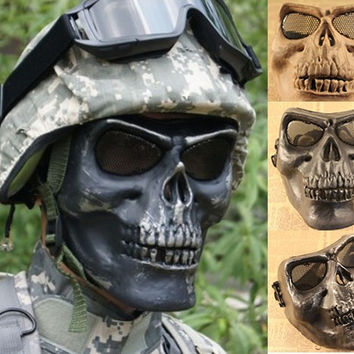Halloween Skull Warrior Airsoft Mask Outdoor Scary Protect Safe Full Face Hunting Biker War Game Armor Skeleton Facemask