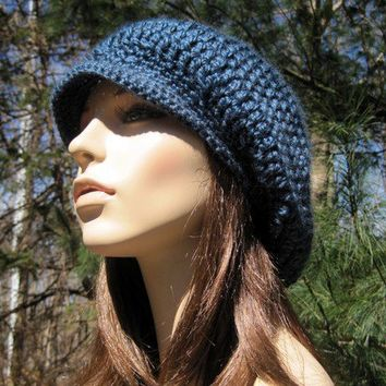 Women's Newsboy Hat Crochet  Hat Slouchy Hat by Monarchdancer