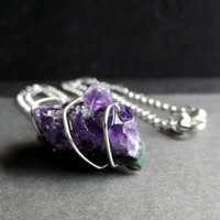 Raw Amethyst Nugget Necklace:  Fine Silver Wire Wrapped Purple Natural Gemstone Jewelry, Long Chain Necklace, February Birthstone