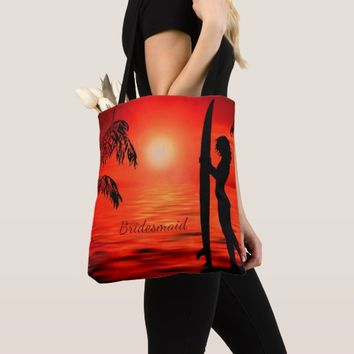 Beach sunset surfing bridesmaid favor tote bag