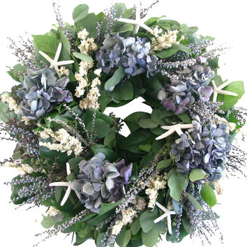 "18"" Hydrangea & Starfish Wreath, Dried, Wreaths"
