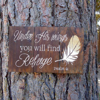 """Joyful Island Creations """"Under his wings you will find refuge"""" Psalm 41 wood sign, gold feather sign, reclaimed wood sign, gift under 25"""