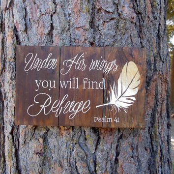 "Joyful Island Creations ""Under his wings you will find refuge"" Psalm 41 wood sign, gold feather sign, reclaimed wood sign, gift under 25"