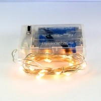 RTGS 20 Warm White Micro LED Battery Operated String Lights, 7.5 Feet Silver Wire