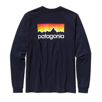 Patagonia Men's Long Sleeve Line Logo T-Shirt- Navy