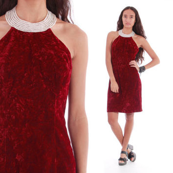 Blood Red Crushed Velvet Pearl Collared Mini Party Dress Short Goth Glam Halter 90's Vintage Clothing Womens Size Small Medium