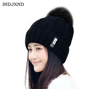 INDJXND Winter Pom Poms Knitted Skullies Womens Beanies Fur Thick Woolen Hat Protect Ears Ladies Warm Knitting Beanie Cap M187