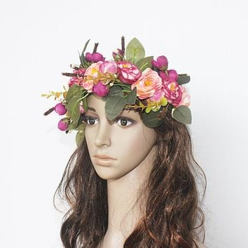 Women's Artificial Flower Wreath Headpiece Crown Camellia Floral Garland For Wedding Bridal Deco And Hair Accessories Boho