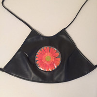 90s black leather halter top with flower