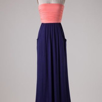 New Boutique Style Neon Pink Navy Color Block Strapless Maxi Dress Size Medium