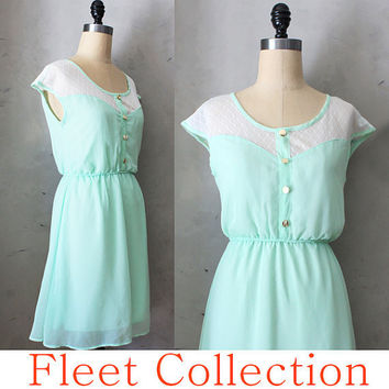 Petit Dejeuner in Mint Green - Cream Lace Illusion Neckline Vintage Inspired Chiffon Dress with Gold Buttons XS S M L