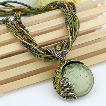 Vintage Boho Reiki Ball Opal Stone Rhinestone Pendant Necklace For Women