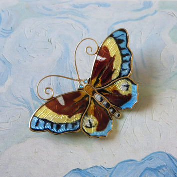 "Large Vintage Norway Sterling Butterfly Pin, David-Andersen, Basse-Taille, Multicolor Enamel Butterfly Brooch, Dimensional, 2 3/8"" x 1 1/2"""