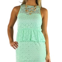 EVERLY Sleeveless Lace Peplum Dress - Mint