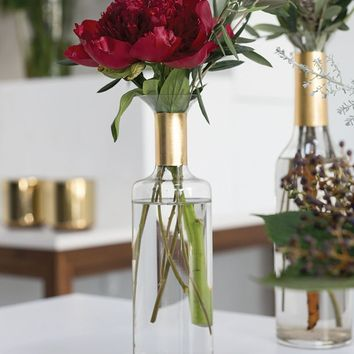 """Glass Genie Bottle Bud Vase in Clear and Gold - 11"""" Tall x 3"""" Wide"""