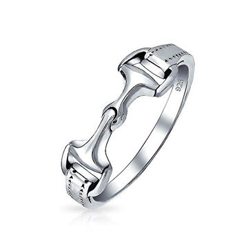 Bling Jewelry Double Horsebit Equestrian Ring 925 Sterling Silver Band