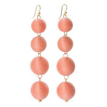 Pom Bon Earrings in Salmon