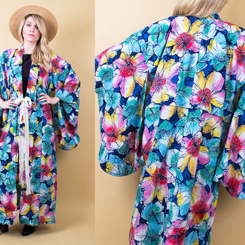 70's tropical kimono / floral authentic Japanese kimono robe full length maxi jacket / Vintage 1970s duster boho hippie bohemian