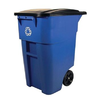 50 Gallon Blue Commercial Heavy Duty Rollout Recycler Trash Can Container
