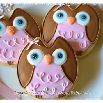 Decorated Baby Girl Owl Shortbread Sugar Cookie Favors Pink