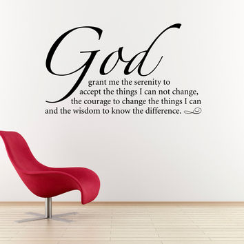Serenity Prayer Wall Decal - Quote Decal - God Wall Decal
