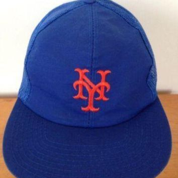 Vintage Ny New York Mets Mesh Trucker Baseball Cap Hat Snapback Adjustable M L