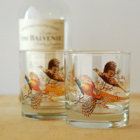 Vintage Rocks Glasses - Pheasant Motif - Hunting Lodge Style
