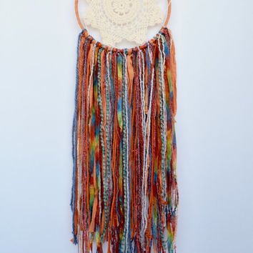 Large Bohemian Dreamcatcher, Natural Dream Catcher, Modern Rustic Wall Decor, Hippy Dream Catcher, Native American Wall Hanging, Doily Decor