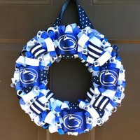Penn State Ribbon Wreath for Front Door Dorm Office or Wall