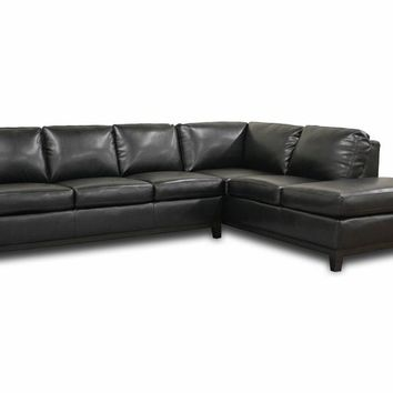 Baxton Studio Rohn Black Leather Modern Sectional Sofa Set of