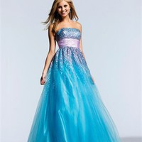 Strapless A-Line open back blue Long with belt Prom Dress PD0929