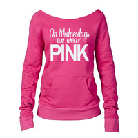 "One ""On Wednesdays We Wear Pink"" Mean Girls Eco-Fleece Sweatshirt. Off Shoulder Sweatshirt. Raw-Edge Off-Shoulder. Christmas Gift."