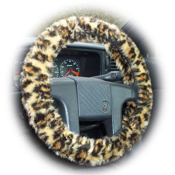 Leopard print steering wheel cover fuzzy animal print fluffy furry fuzzy fur cheetah car