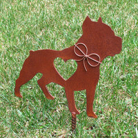 Pit Bull Dog Metal Garden Stake - Metal Yard Art - Metal Garden Art - Pet Memorial 2