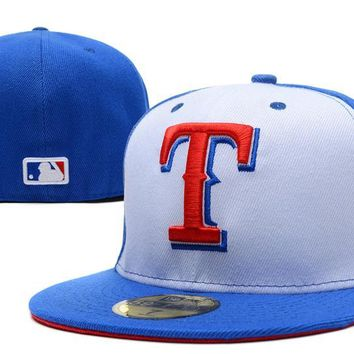 LMFON Texas Rangers New Era 59FIFTY MLB Hat Blue-White