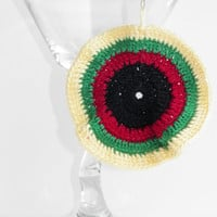 Free Shipping in U.S.A - Sunny Jamaica - Crochet Earrings - Jamaica Earrings - Bob Marley - Circular Earrings - Teens Girls Women - Round