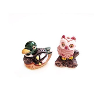 Miniature Owl / Duck Figurines, Ceramic Clay Pottery