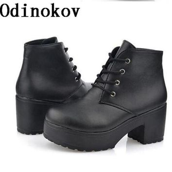New Fashion Women Platform Heels Ankle Boots Thick Heel Platform Shoes Combat Boots