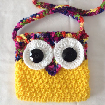 Crochet Girl's Purse Bright yellow hand bag owl purse crochet bag handmade purse yellow owl