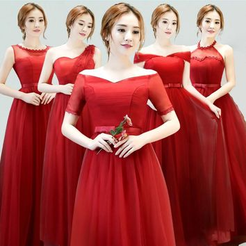 Wine Red Bridesmaid Dresses Long Boat Neck Short Sleeves Elegant Prom Party Gown Mixed Styles Cheap Bridesmaid Dresses Under $50