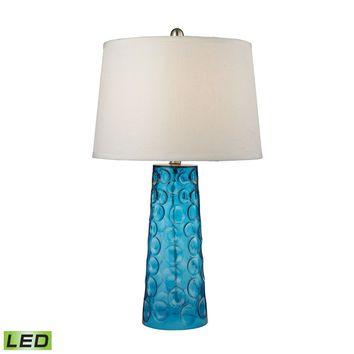 Hammered Glass LED Table Lamp in Blue With Pure White Linen Shade Blue