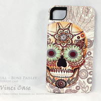 iPhone 4 case - iphone 4s case - ivory Sugar Skull - Bone Paisley TOUGH iPhone 4 cover - Day of the Dead Art