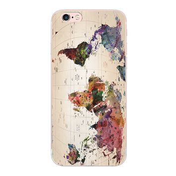 Color world map design phone case For iphone 4 4S 5 5S 5C SE 6 6S 7 Plus hard cover For Samsung Galaxy S3 S4 S5 S6 S7 edge G9350