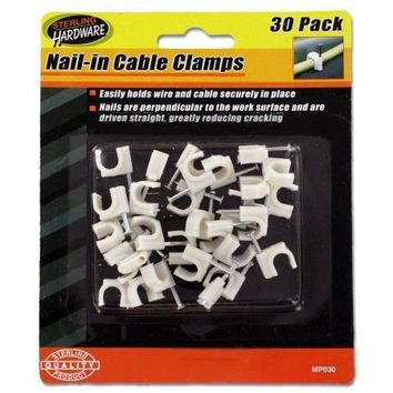 Nail-In Cable Clamps with 30 Pieces Set Of 24 Pack in a Blister Pack