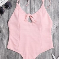 Pink Knot Front Tie Shoulder One Piece Swimsuit